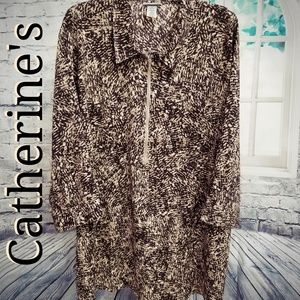 🐻Catherine's Long Zip Front Tunic Tan/Browns, 4X